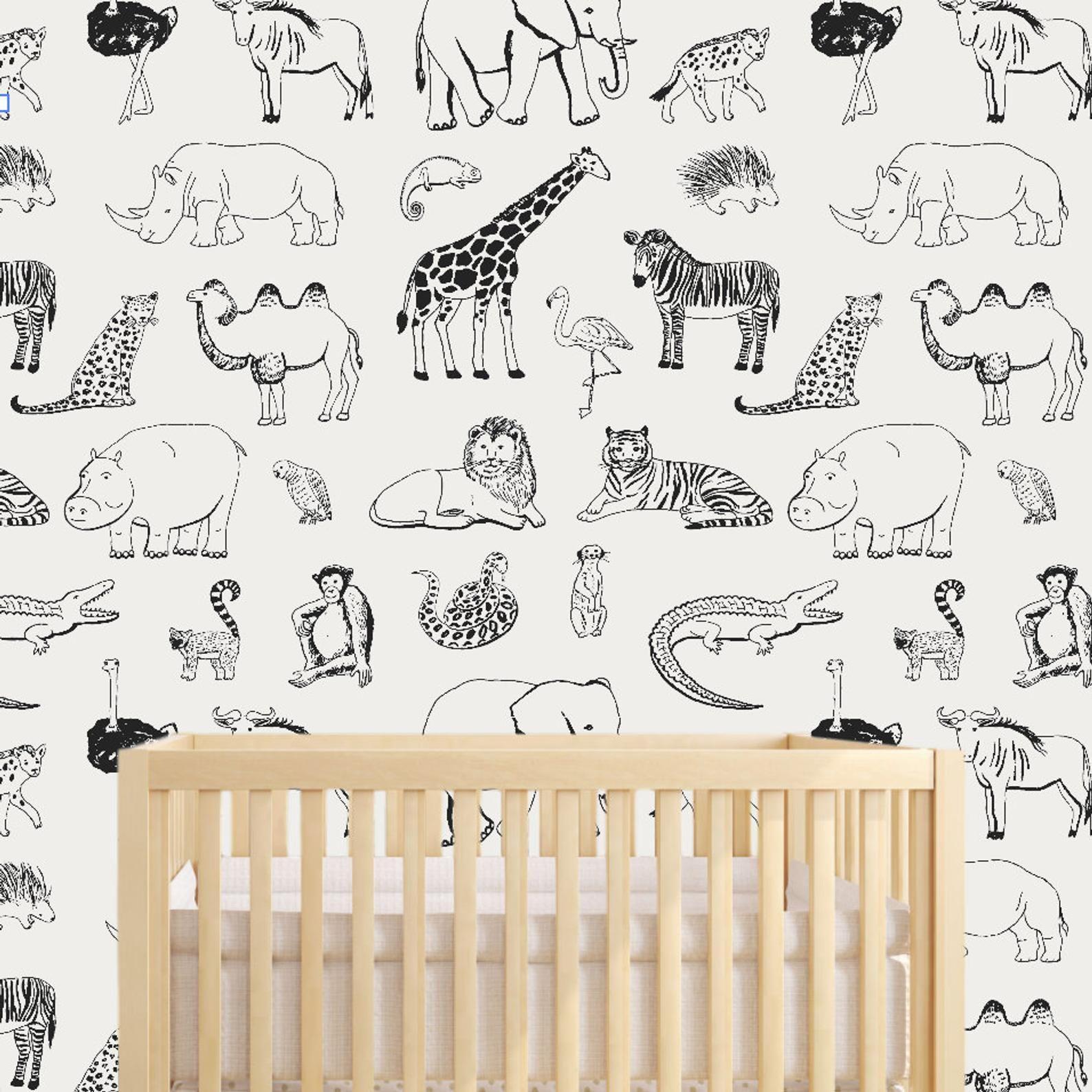 Safari Animal Removable Wallpaper Nursery