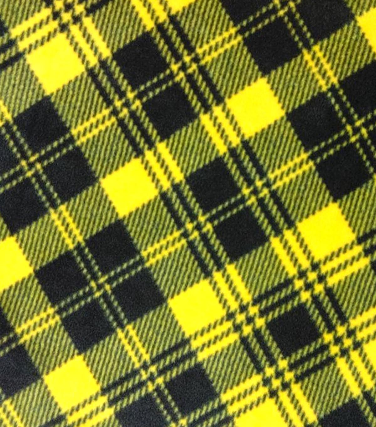 Anti-Pill Fleece Fabric Black And Gold Plaid | Charlie Christmas ...