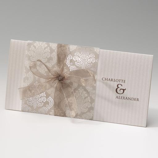 Einladungskarte Einsteckkarte in creme und perlmutt mit