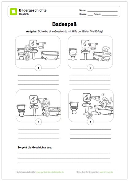 Neu Deutsch Bildergeschichten Die Kinder Erhalten Eine Bildergschichte Mit Dem Titel Badespass Und Sollen Unter Bildergeschichte Geschichte Genaues Lesen