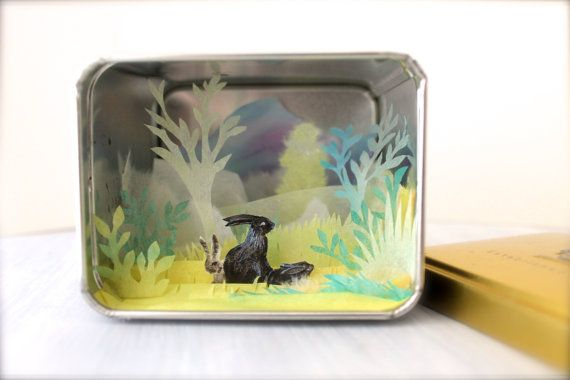 Shadow box Secret Garden  papercutting  in a tea box. by sabiesabi