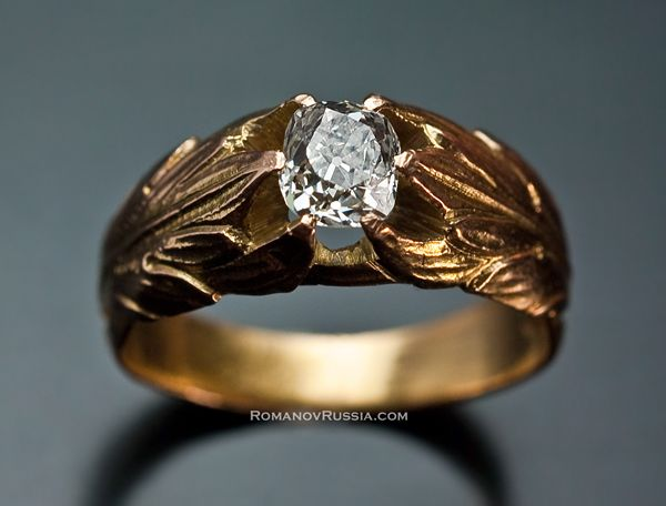 Vintage Russian Gold and Diamond Mens Ring Sale jewellery