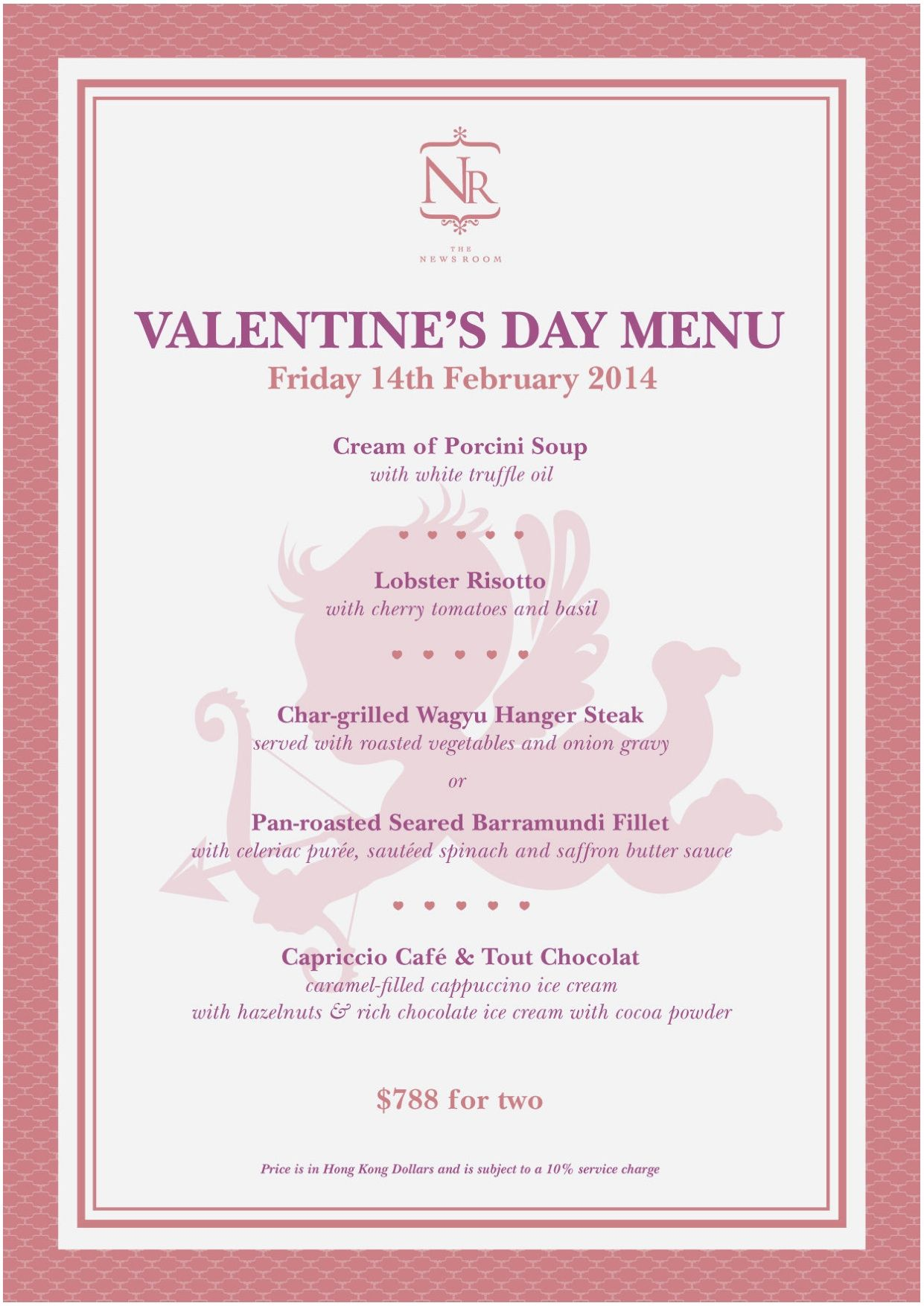 The News Room Valentine's Day Menu | Reserve a table at http://chope.com.hk/categories/restaurant/the-news-room