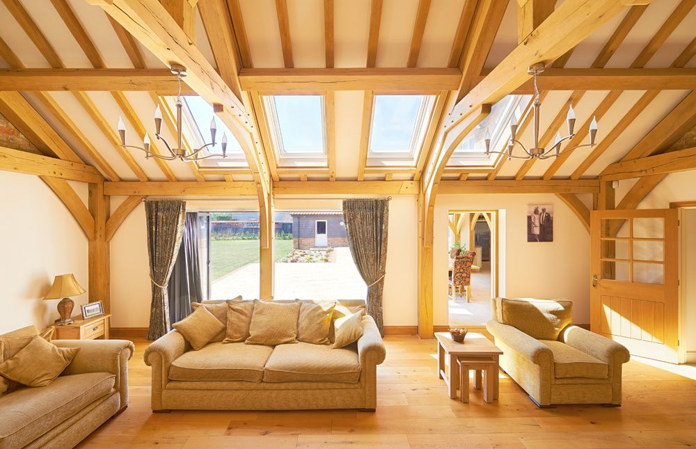 The single-story lounge has a vaulted ceiling with all the