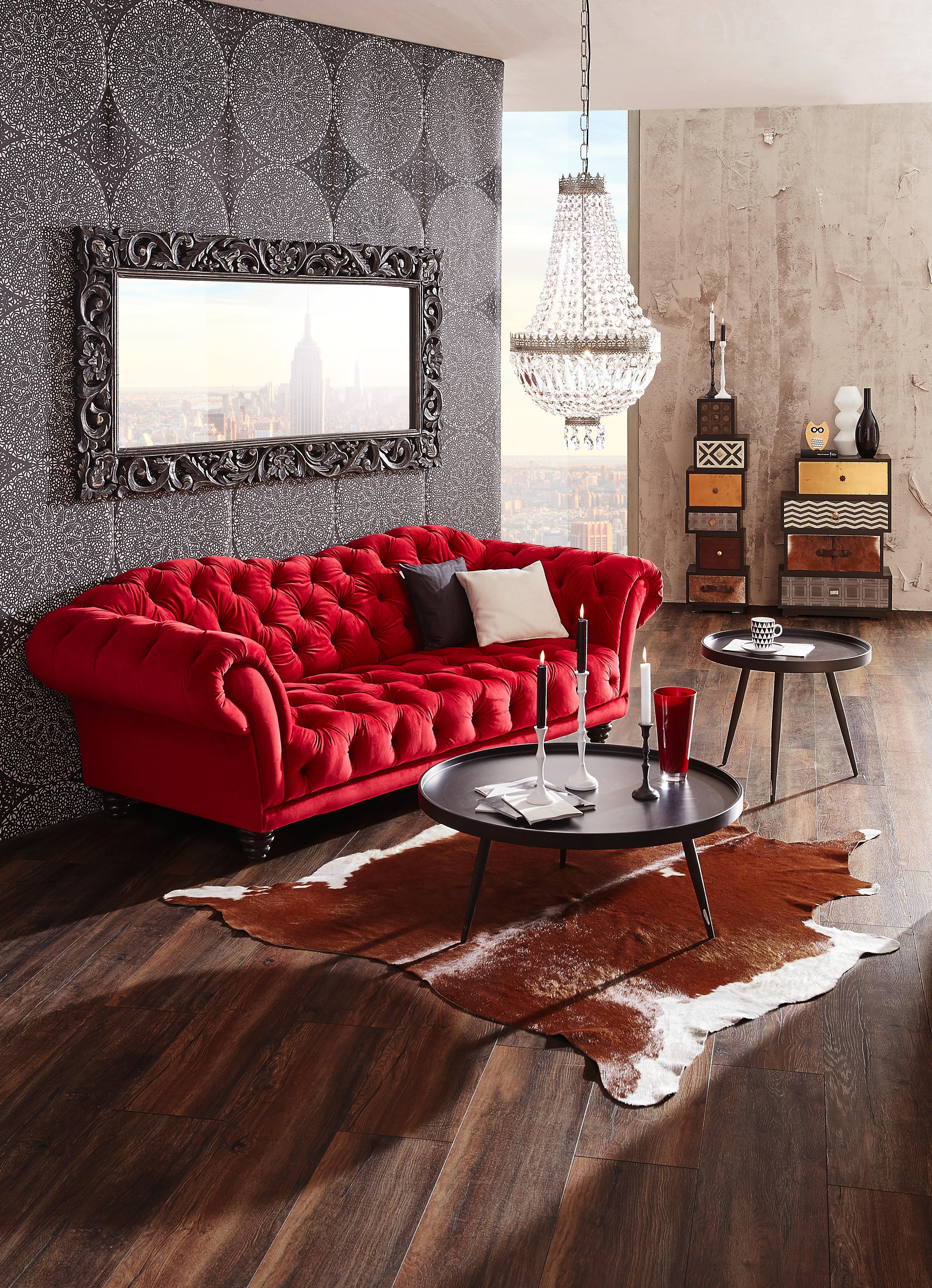 Chesterfield Sofa Leder Rot