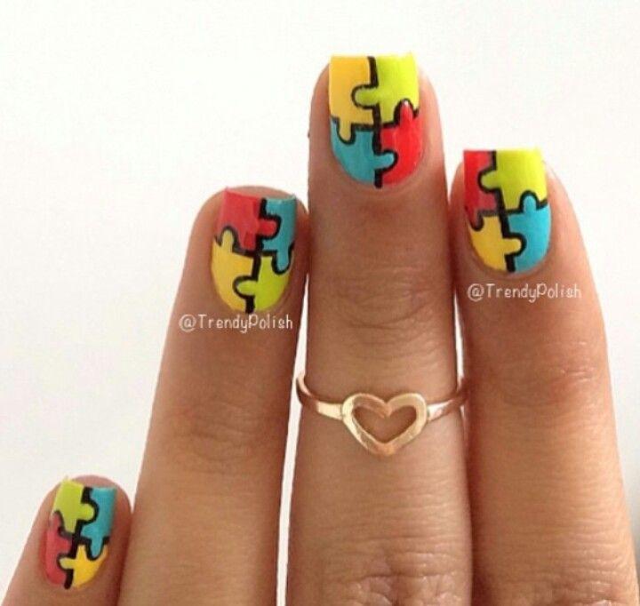 Puzzle nail art design   Nails   Pinterest