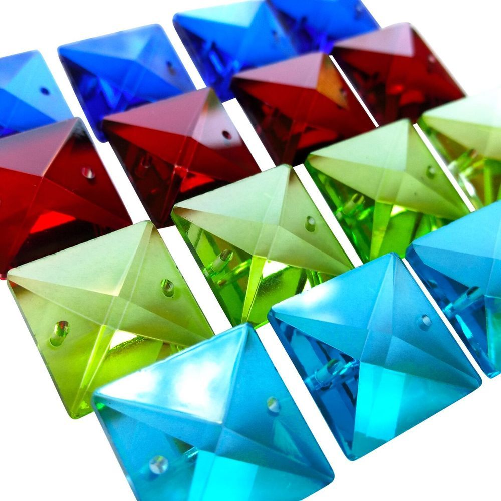 16 Square Chandelier Crystals 22mm Aqua Blue Red Spring Green Beads