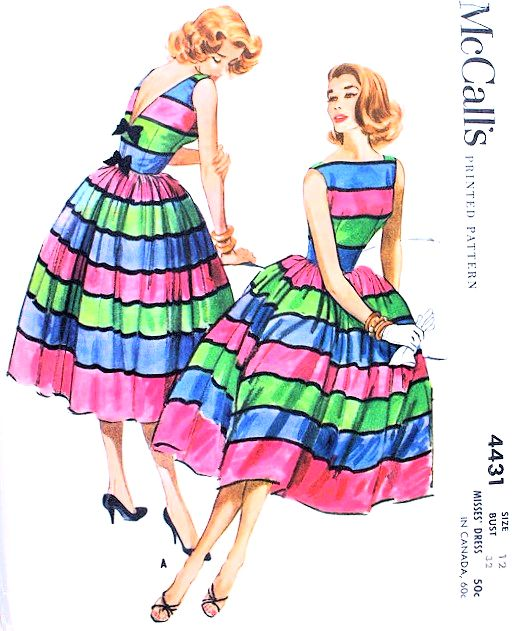 1950s BEAUTIFUL McCalls Pattern 4431 Party Cocktail Dress Bateau ...