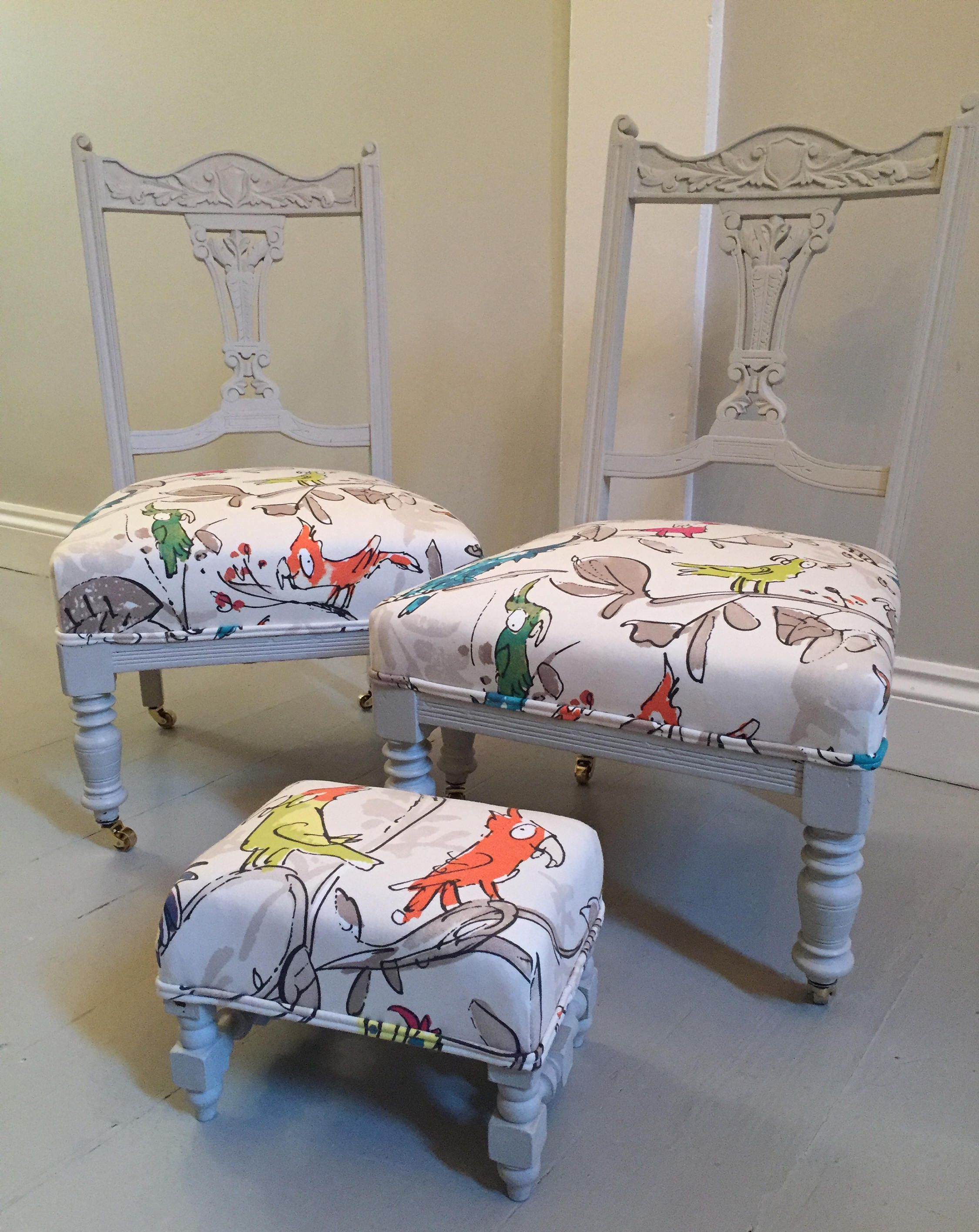 Children\'s bedroom chairs and stool, covered with Osbourne and ...
