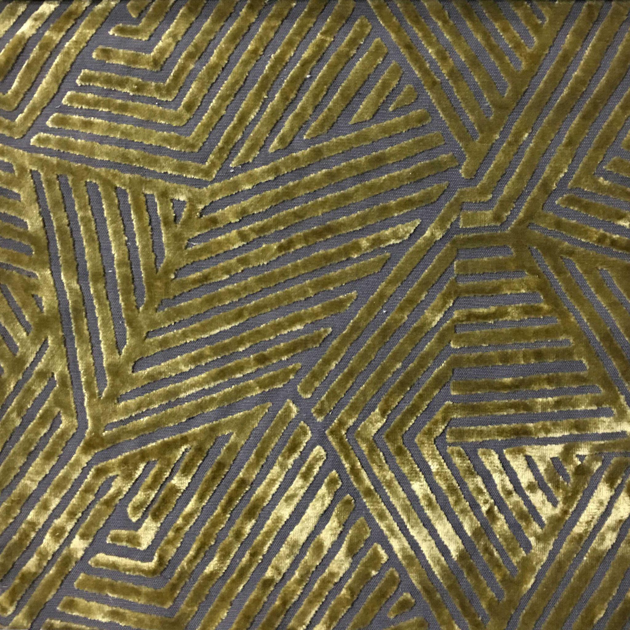 Aurora Geometric Burnout Velvet Upholstery Fabric By The