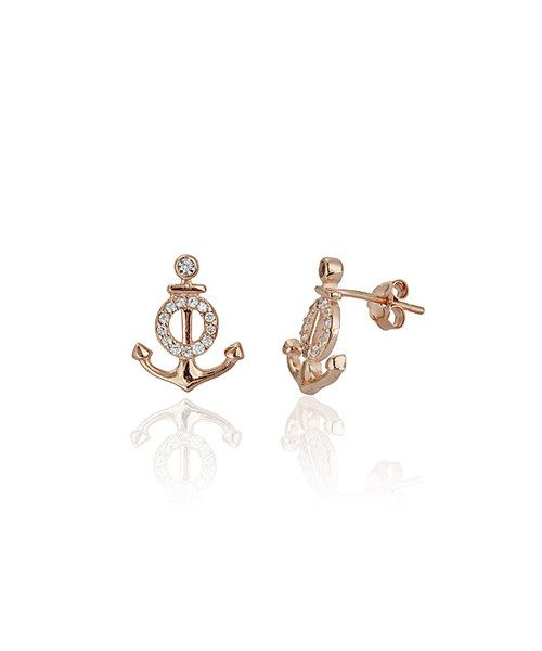 Look at this Cubic Zirconia Rose Gold Anchor Stud Earrings on