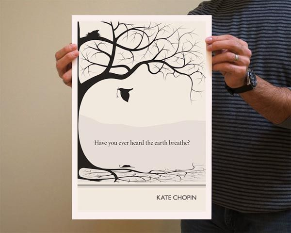 Book Quote Kate Chopin Poster Illustration by Evan Robertson