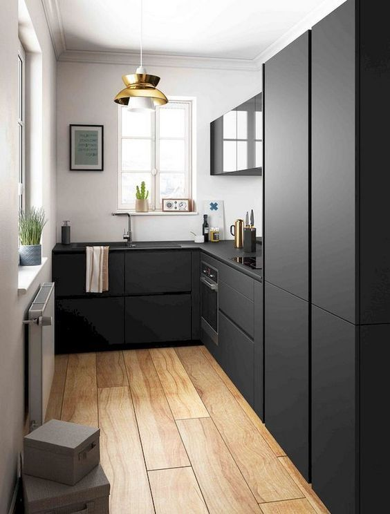 Black Kitchens How To Style Them Without Looking Gloomy Small Kitchen Design Apartment Kitchen Remodel Small Modern Black Kitchen