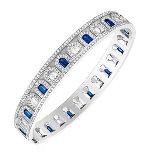 Photo of L'Arc Deco Bangle in Platinum with DAVIDOR Arch Cut Diamonds, DAVIDOR Arch Cut Blue Sapphires and Brilliant Diamonds – 19