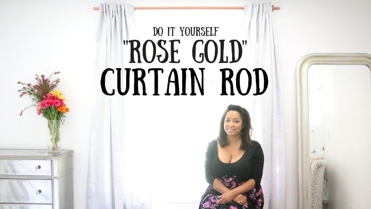 Diy Rose Gold Curtain Rod Room Remix Gold Curtain Rods Rose Gold Curtains Gold Curtains