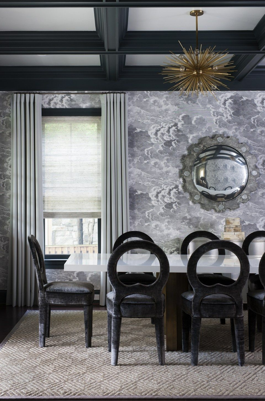 Formal Dining Room with incredible wallpaper by Ella Scott Design, via @sarahsarna.