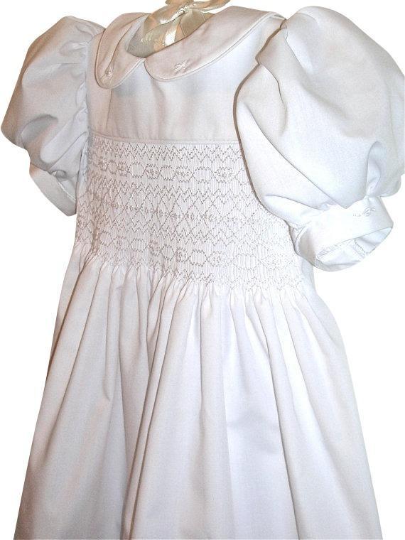 Girls White Smocked Dress Sizes 3 months to 6 yrs Flower Girl ...