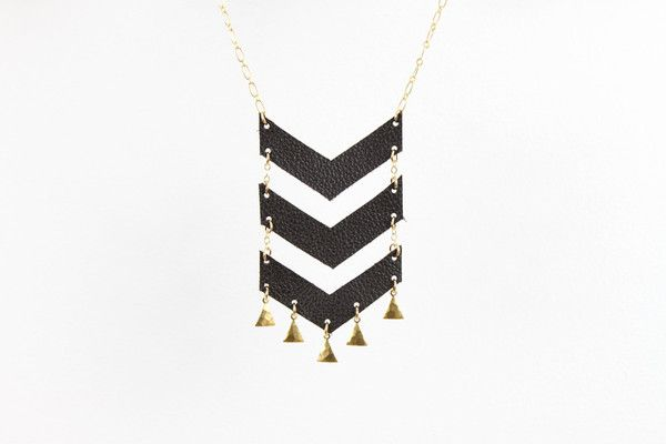 Triple Chevron Necklace from leather