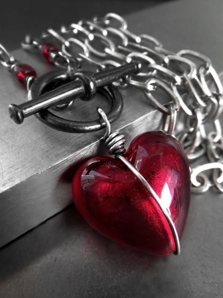 Heart of Darkness - Deep Red Heart Pendant Necklace
