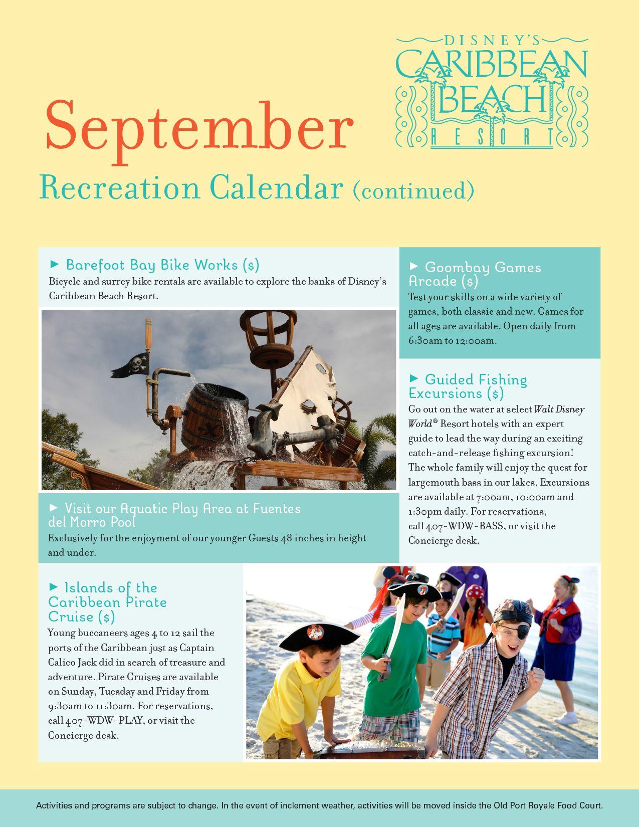 Caribbean Beach Resort Recreation Activities Calendar September 2017 Disney World Menus Crowd