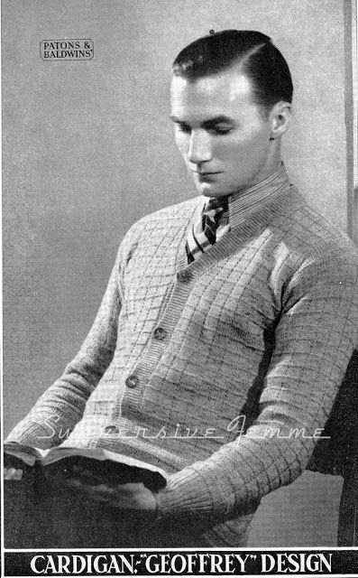 68082ca5a35128 The Vintage Pattern Files  1930 s Knitting - Mens Diamond pattern Cardigan