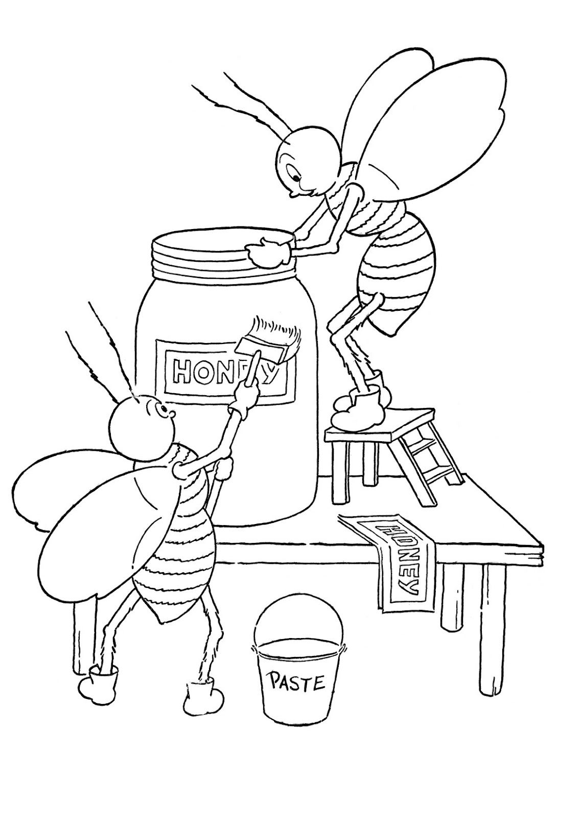 Kids Printable Honey Bees Coloring Page The Graphics Fairy Bee Coloring Pages Cartoon Coloring Pages Bee Drawing