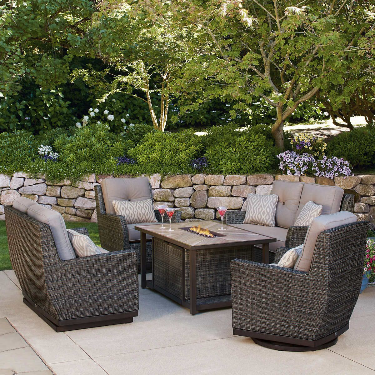 Pin by Falcon Ridge on Outdoor | Fire pit patio set, Patio ... on Costco Outdoor Fireplace  id=14789