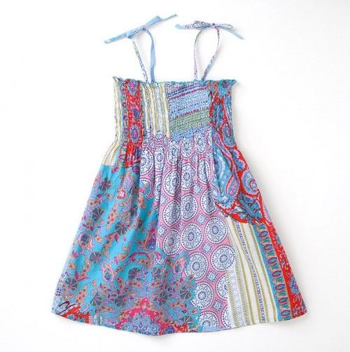 Patchwork Design Tube Dress With Straps - Funky Kids: Boho-Cool Threads
