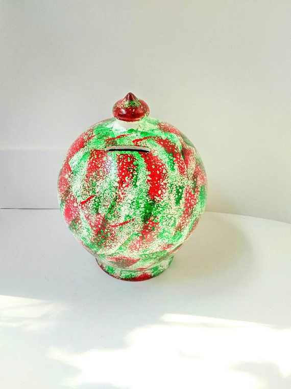 Decorative coin box, white red green money bank for children, buy high quality penny fund pot jar cool unique smashable, storage donation