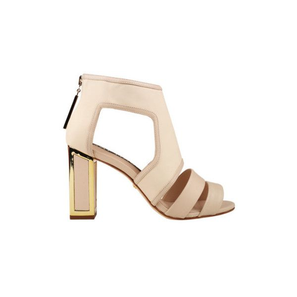 Kat Maconie Georgia Heels ($145) ❤ liked on Polyvore featuring shoes, pumps, nude, kat maconie, thick-heel pumps, nude strappy shoes, chunky heel shoes en zip shoes