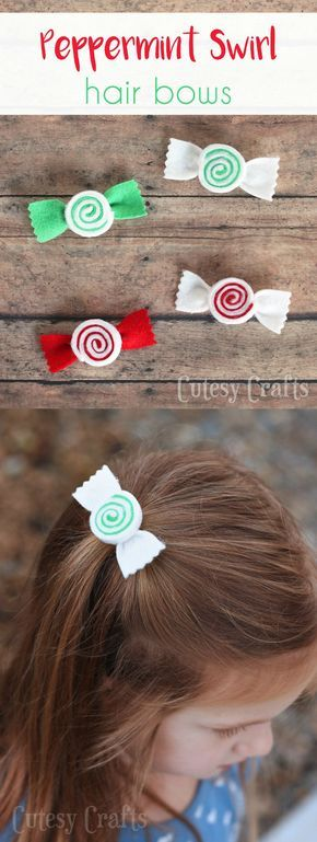 Felt Peppermint Swirl Christmas Hair Bows #kidshairaccessories