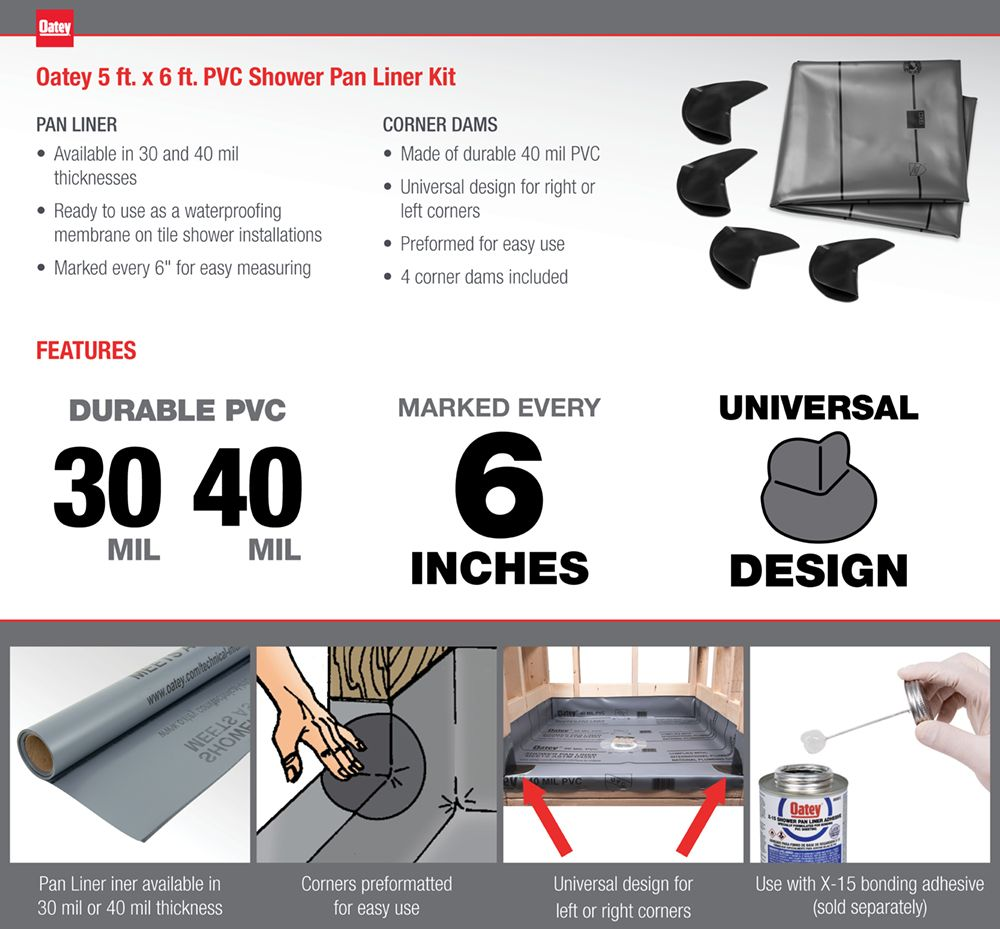 5 Ft X 6 Ft Pvc Shower Pan Liner Kit 41620 Shower Pan Liner