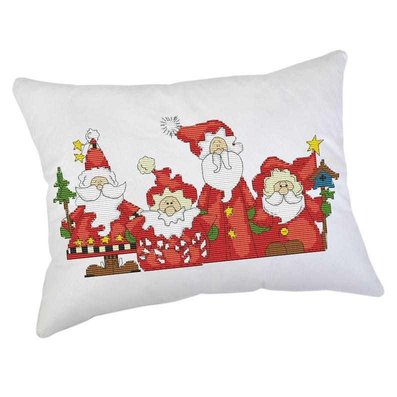Four Santa Pillow Christmas Cross Stitch Pattern Funny Santa Modern Embroidery Xstitch Decor Christm