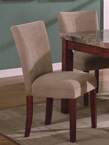 Set Of 2 Taupe Beige Suede Parsons Dining Chair Chairs By