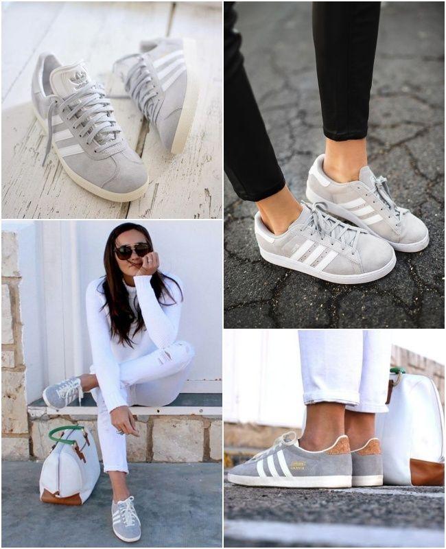 the best attitude 5aa4b c97ca Adidas Gazelle cinza, modelo de tênis que é tendência nas fashionistas.  Confira esses looks!