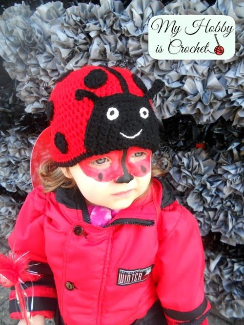 Crochet Ladybug Hat with link to Free Pattern; Basic Beanie Free Pattern