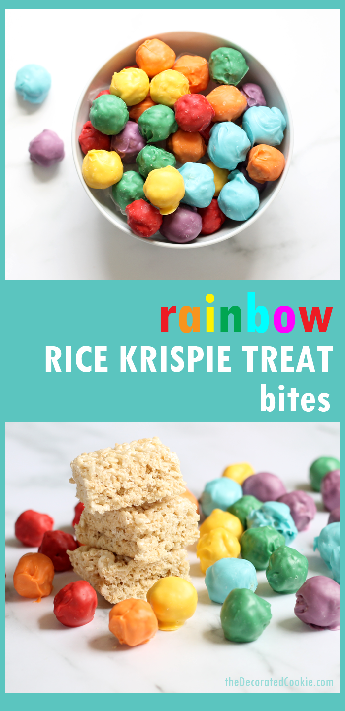 How to make rainbow RICE KRISPIE TREAT bites, the perfect, bite-size fun food for a rainbow or unicorn party. Also great for St. Patrick's Day food ideas.