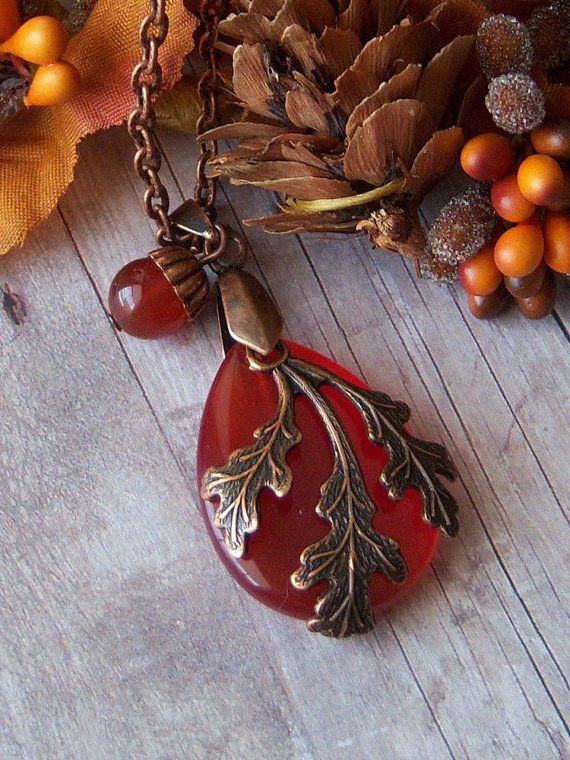 acorn and oak leaf necklace.... I have this piece of Vintaj oakleaf....could do this.....b