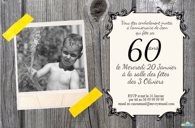 carte invitation gratuite a imprimer 60 ans 60 ans cartes et invitations gratuites 123. Black Bedroom Furniture Sets. Home Design Ideas