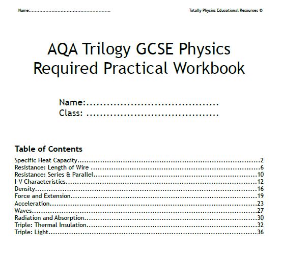 Science Physics Methods: AQA Trilogy GCSE Physics Required Practical Student