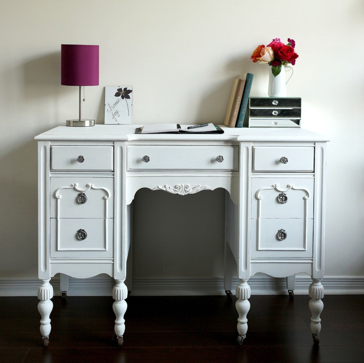 Antique Desk Vanity White Shabby Chic Furniture Home Office Vintage Chalk Painted