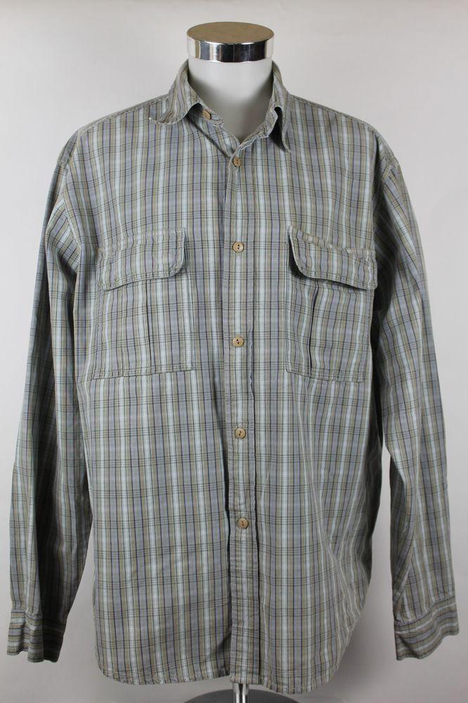 Levis Silver Tab Shirt Mens size XL Cotton Button Front Plaid Flap Pockets EUC #Levis #Hawaiian