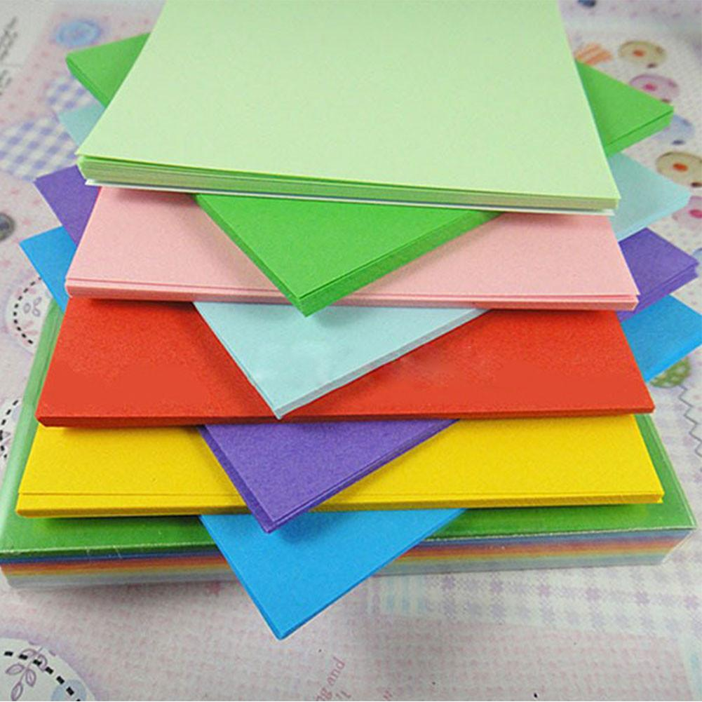 100Pc Origami Square Paper Double Sided Coloured Craft DIY Colorful ...