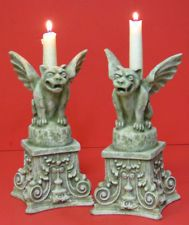 "Pair of Large Resin GARGOYLE Candle Holders - 7lbs - 9"" High"