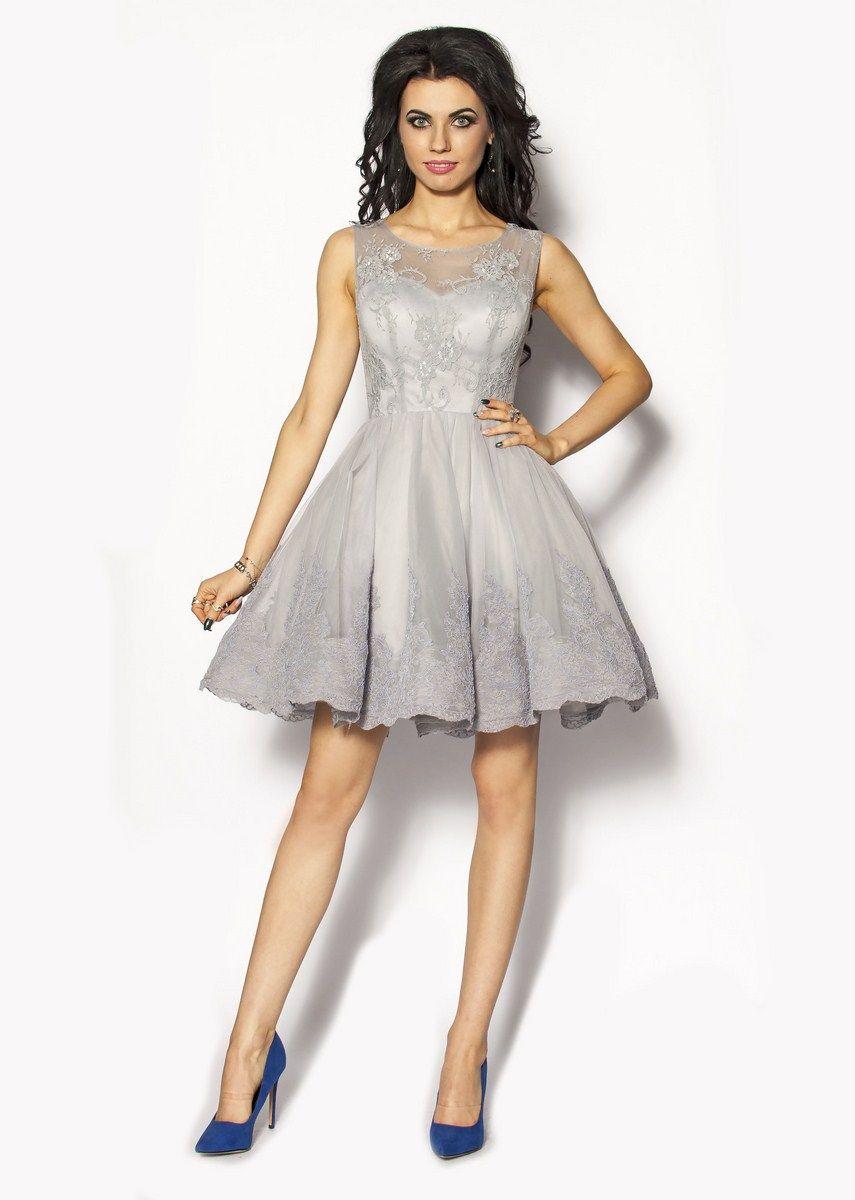 fd6132bf Szara rozkloszowana sukienka Model: PW-2633 | Szafa | Formal dresses ...
