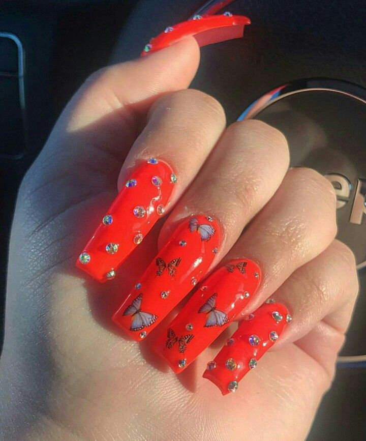 Pinterest Iiiannaiii Red Acrylic Nails Perfect Nails Nails
