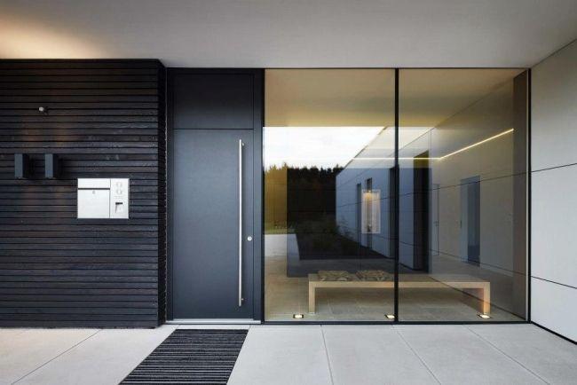 Einfamilienhaus neubau modern holz  Fenster Türen Josko hersteller schwarz alu holz glas ...