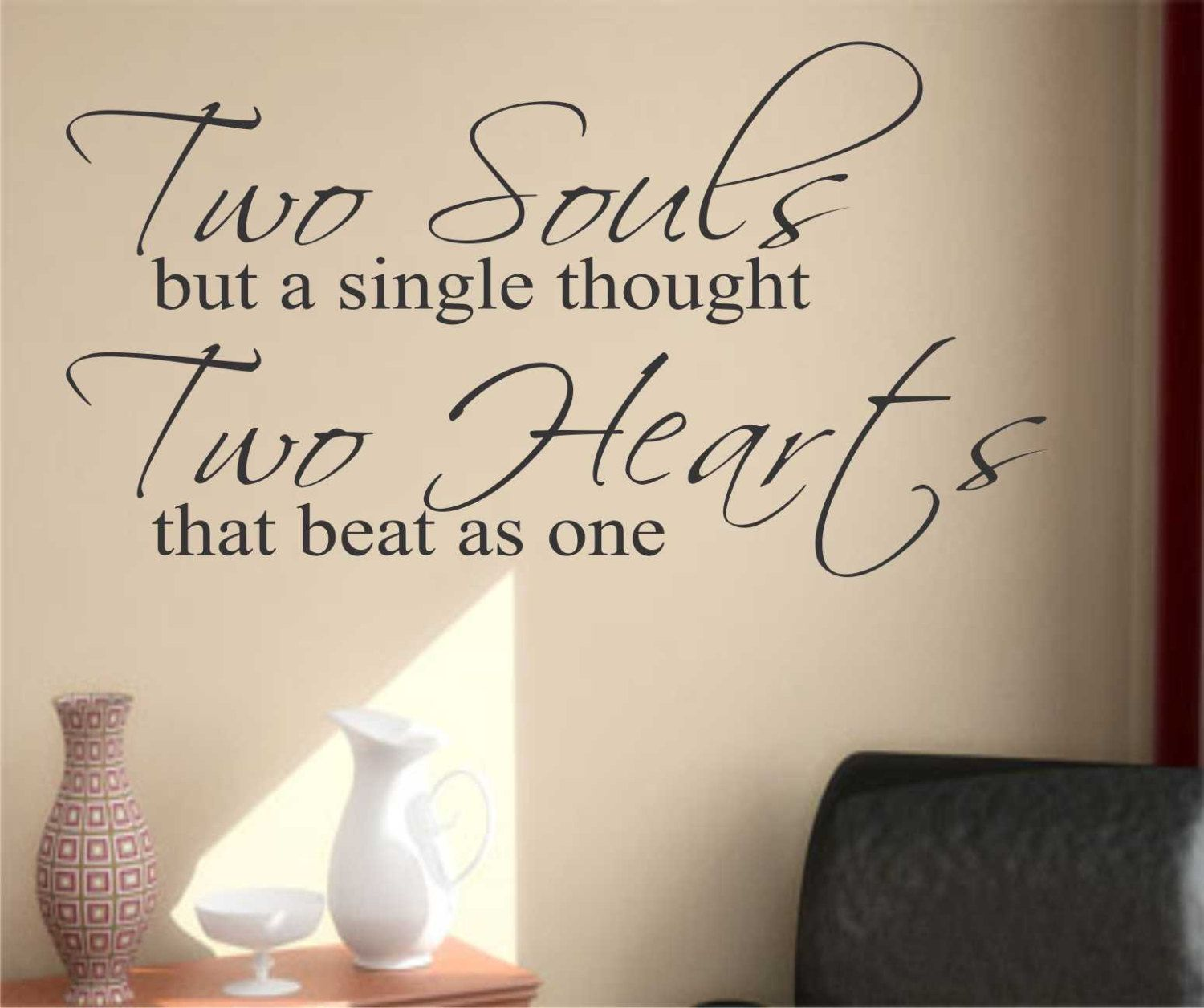 Romantic Wedding Vinyl Wall Lettering Two Souls Hearts Love Quotes