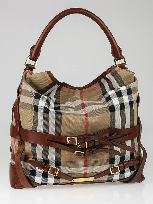Burberry Dark Tan Bridle House Check Canvas Medium Gosford Hobo Bag