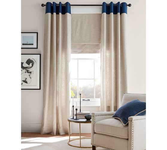 Emery Border Linen Cotton Grommet Curtain Flax Navy